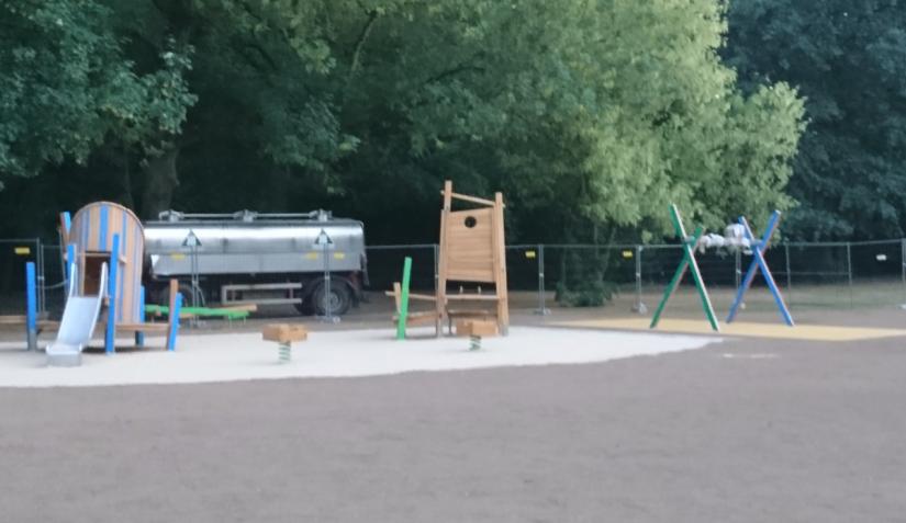 Die Sanierung des Ostparks schreitet voran, doch die Hitze verzögert auch